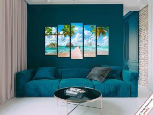 tranh treo tuong phong khach dep bien xanh