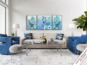 tranh treo tuong phong khach doi chim cong xanh