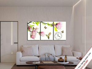 tranh treo tuong phong khach hoa moc lan ghep bo