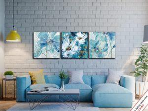 tranh treo tuong phong khach hoa xanh pastel