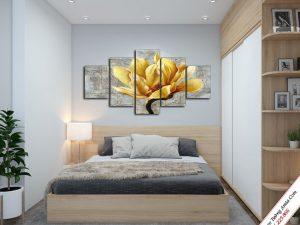 tranh treo tuong phong ngu hoa moc lan vang