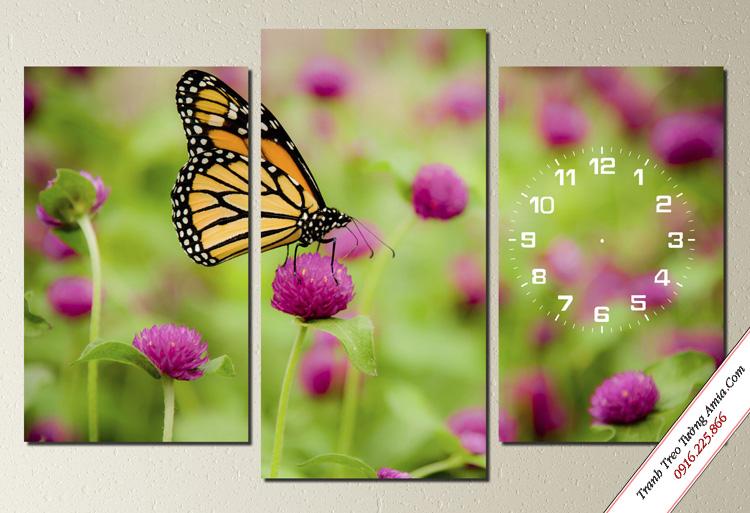 tranh treo tuong phong ngu tre em chu buom tren canh hoa