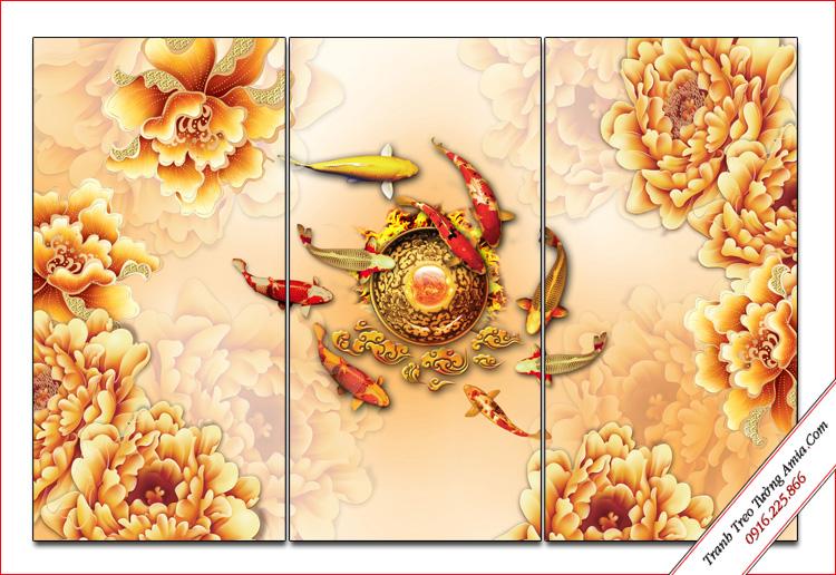 tranh ca chep va hoa mau don ghep bo 3 tam