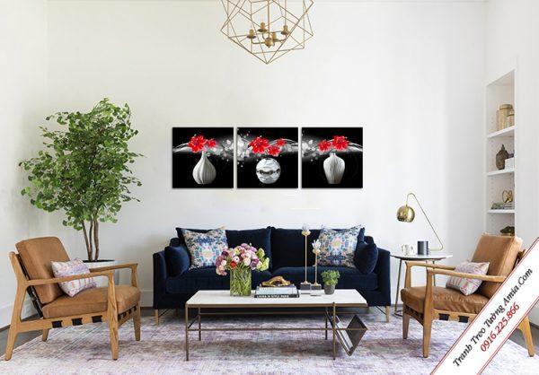 tranh treo phong khach binh hoa do den