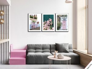 tranh treo tuong phong khach ngoi nha hoa hong