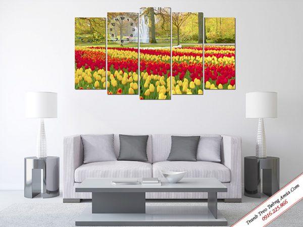 Tranh ghép bộ treo tường cánh đồng hoa tulip rực rỡ Amia TDH 220.