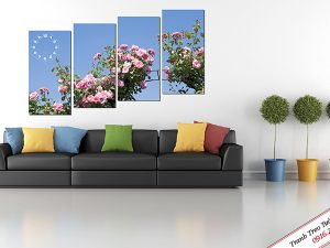 Tranh đồng hồ treo tường hoa hồng đẹp Amia 223