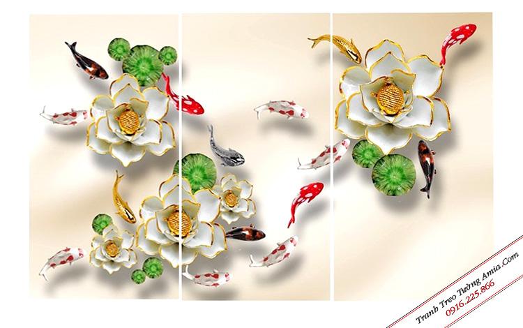 Tranh hoa sen cá chép ghép bộ treo tường đẹp Amia 1264