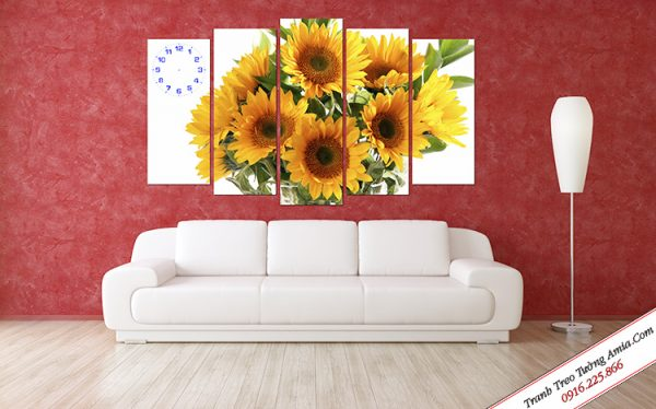 tranh hoa huong duong ghep bo treo tuong dep