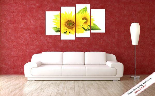Tranh hoa hướng dương ghép bộ treo tường Amia TDH 242