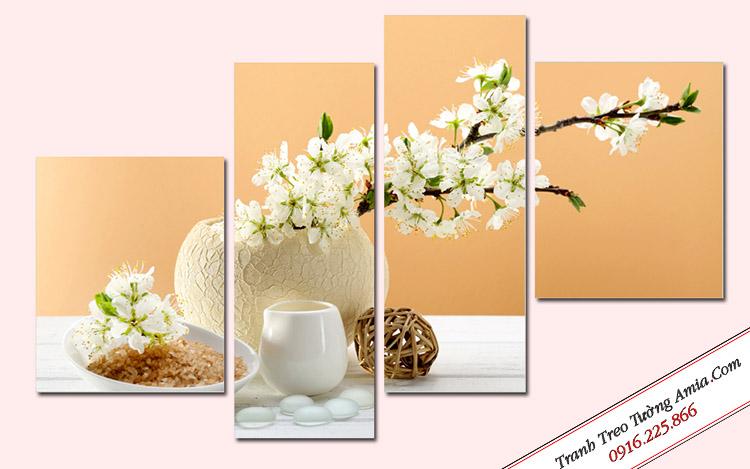 tranh treo tuong dep binh hoa trang ghep bo