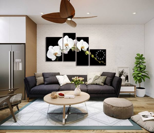 tranh hoa lan trang treo tuong phong khach