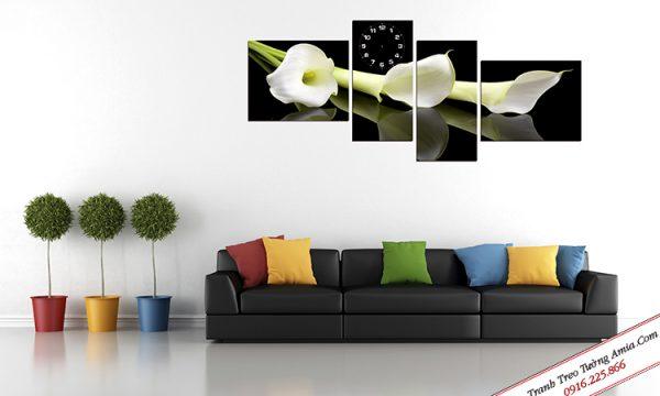Tranh đồng hồ hoa loa kèn trắng treo tường Amia TDH 243