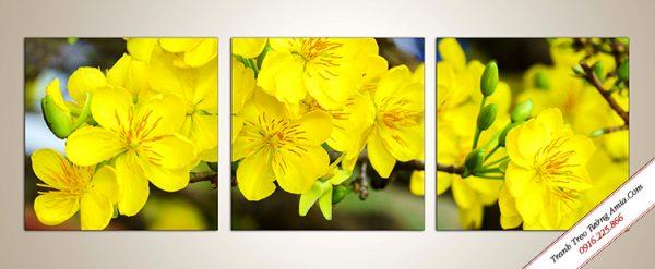 Tranh hoa mai vàng treo tường ghép bộ Amia 1014