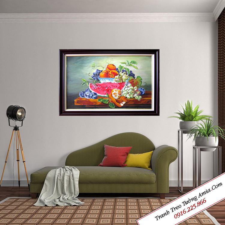 Tranh sơn dầu treo tường hoa quả đẹp cổ điển