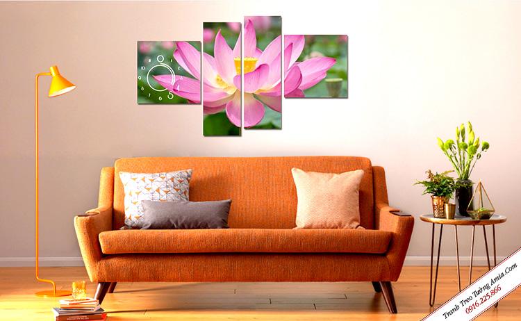 Tranh ghép bộ treo tường hoa sen nở đẹp Amia 933