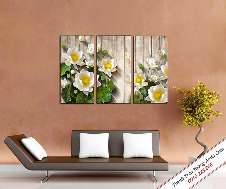 tranh hoa sen trang treo tuong dep danh cho phong khach