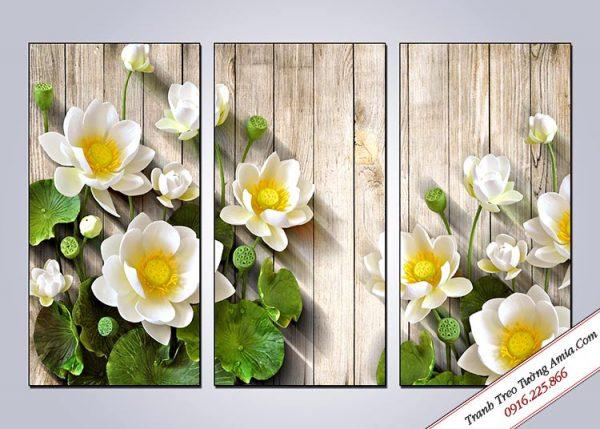 Bo tranh hoa sen trang treo tuong dep