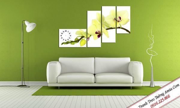 Tranh cành hoa lan trắng ghép bộ treo tường Amia TDH 196