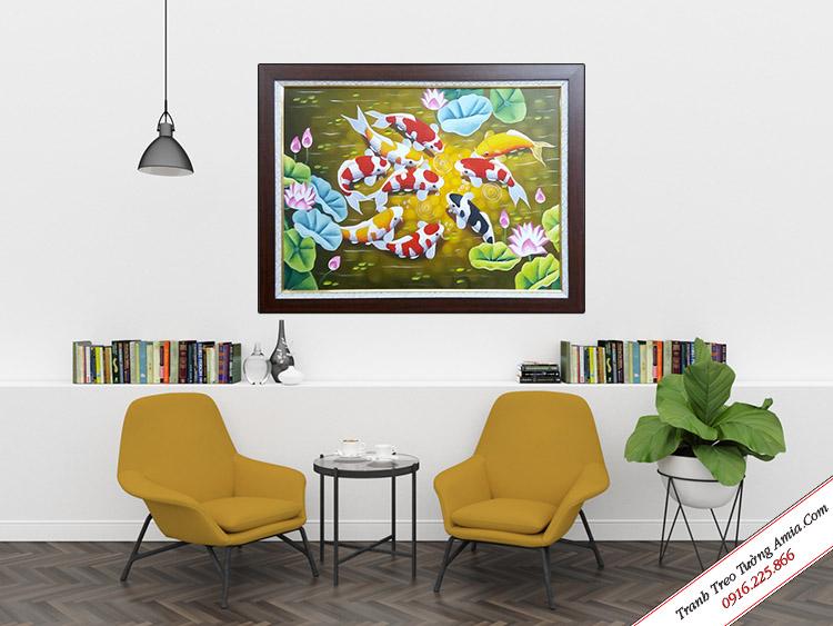 Tranh sơn dầu treo tường hoa sen cá chép