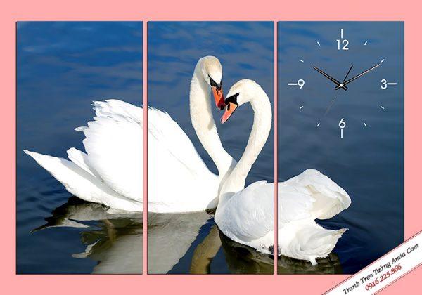 Tranh đồng hồ đôi chim thiên nga đẹp Amia 327