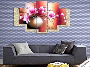 Tranh treo tường phòng khách đẹp đẹp bình hoa sen đất Amia 1086.
