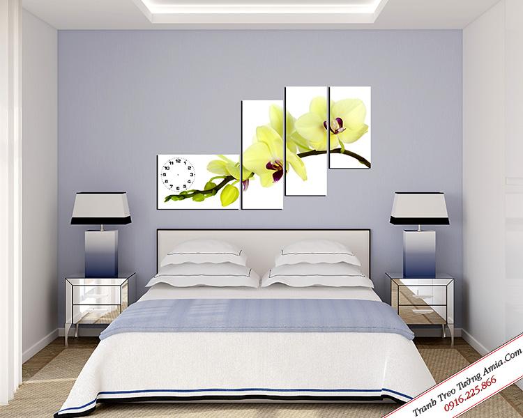 tranh hoa lan trang ghep bo treo tuong