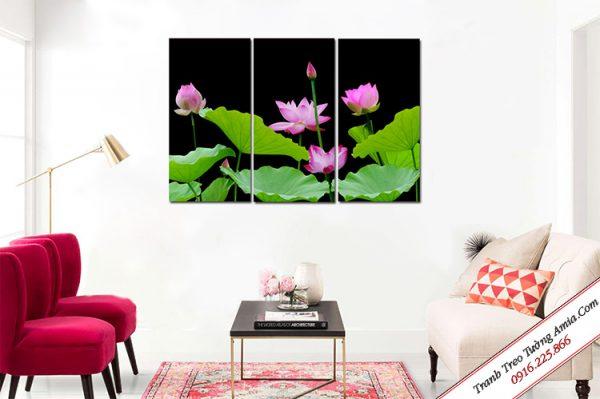 tranh treo tuong hoa sen ghep bo