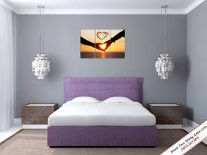 Tranh đồng hồ treo tường chủ đề Tình yêu Amia 329