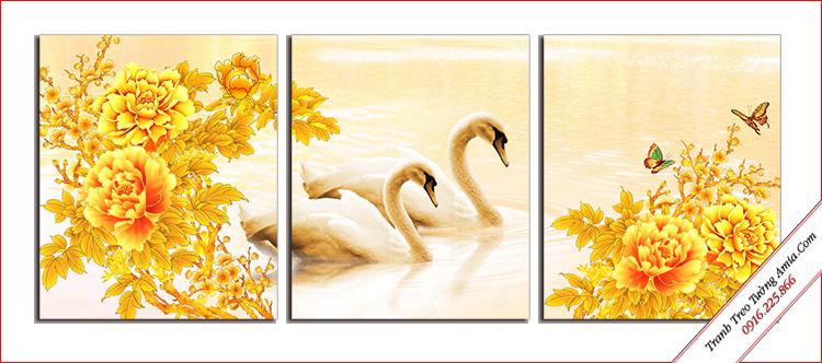 tranh doi chim thien nga va hoa mau don