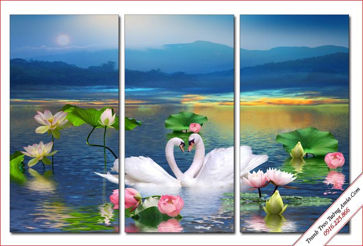 tranh doi chim thien nga trong ho sen lam qua tang
