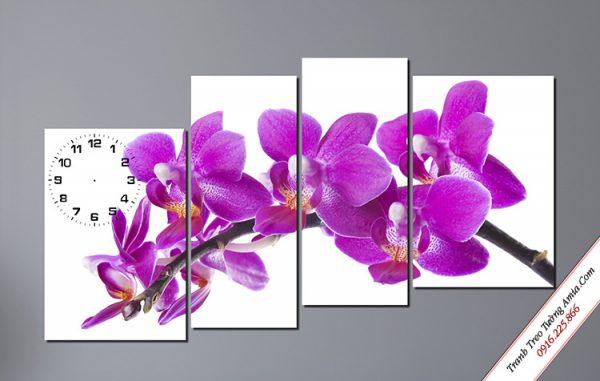 tranh hoa lan tim treo tuong phong thuy