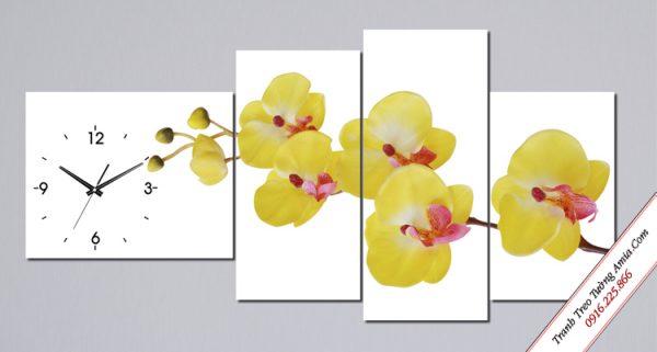 tranh hoa lan vang phong thuy ghep bo