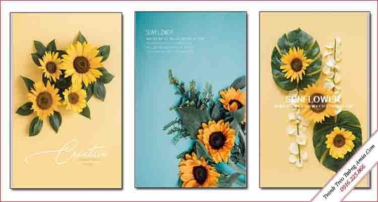 tranh hoa huong duong treo tuong phong cach bac au
