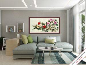 tranh hoa mau dọn kho lon treo tuong phong khach