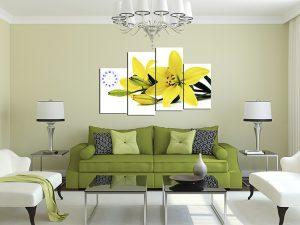 tranh treo phong khach hoa ly vang mung tan gia