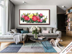 tranh treo phong khach hoa mau don dep