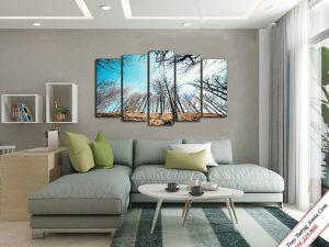 tranh treo phong khach phong canh hang cay xanh vuon len