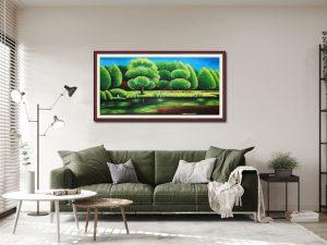 tranh treo phong khach phong canh hang cay xanh ve son dau