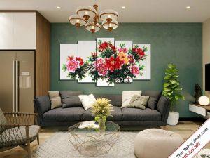 tranh treo tuong phong khach cay hoa mau don treo tuong