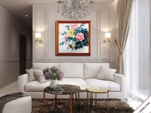 tranh treo tuong phong khach dep hoa mau don