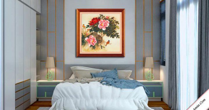 tranh treo tuong phong ngu doi chim va hoa mau don