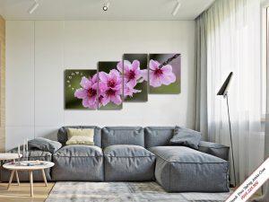 tranh canh hoa dao tet treo tuong phong khach phong thuy