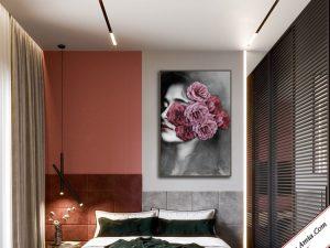 tranh canvas co gai va hoa treo tuong phong ngu