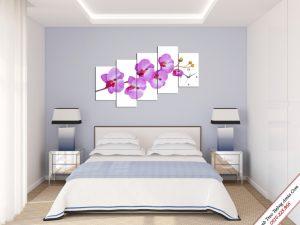 tranh hoa phong lan tim treo tuong phong ngu