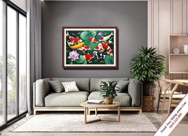 tranh treo phong khach 9 chu ca chep va hoa sen