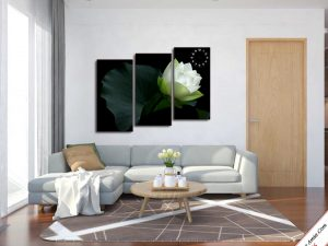 tranh treo phong khach bong hoa sen trang ghep cach dieu