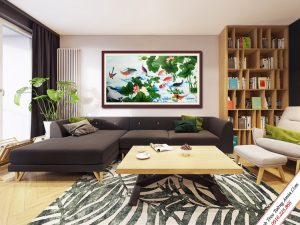 tranh treo phong khach ca chep trong dam hoa sen