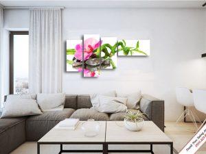tranh treo tuong phong khach dep hoa lan ho diep