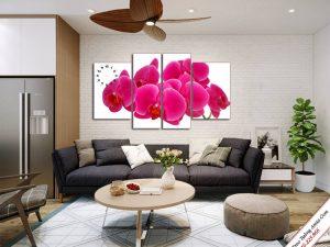 tranh treo phong khach dep hoa phong lan do